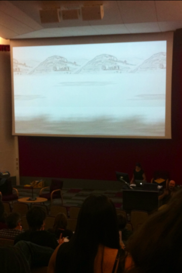 "(Savindar Bual during her lecture - presenting her wild west inspired piece ""Myriorama"" - photo my own, taken on iPhone 4)"